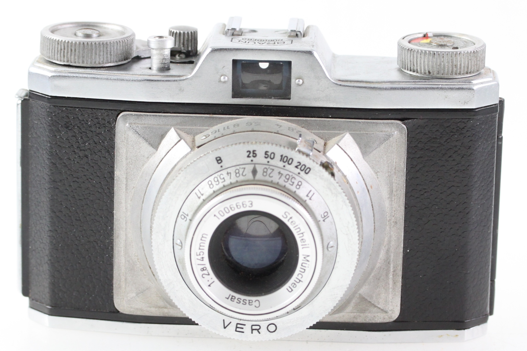 Braun Nürnberg Gloriette Vero Kamera mit Steinheil Cassar 1:2,8 / 45mm Objektiv